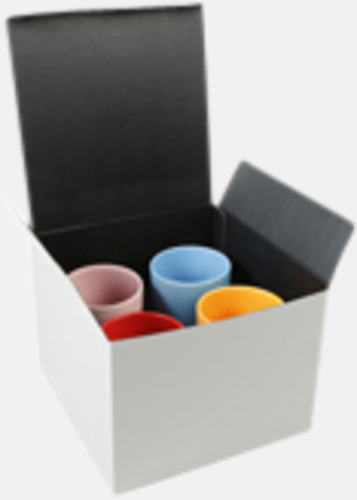 Presentförpackning 4-pack (se tillval) Kaffemuggar med färgad insida