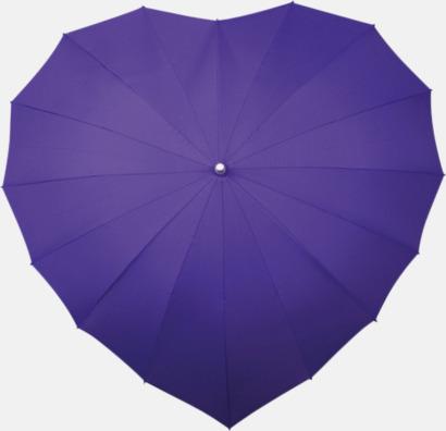 Lila (PMS 2725C) Hjärtformade paraplyer med eget tryck