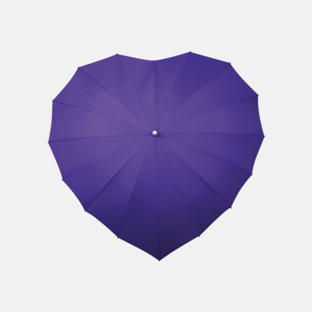 Lila (PMS 2725C) Hjärtformade paraplyer med eget reklamtryck