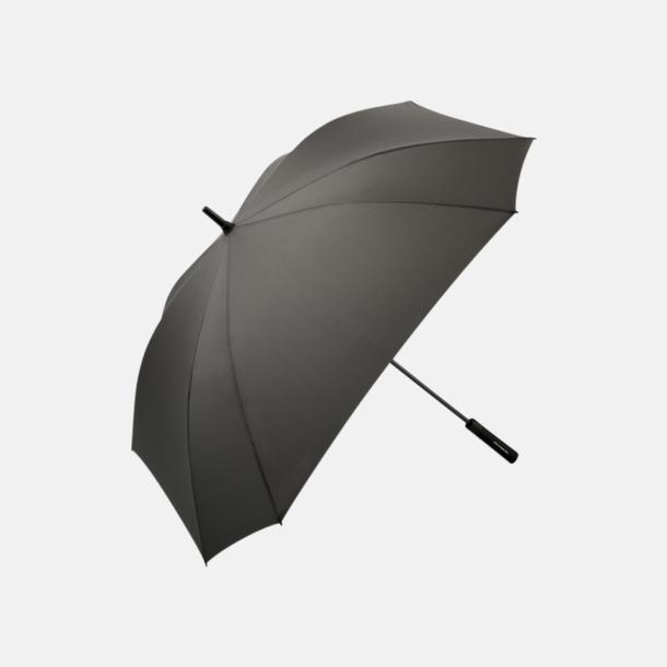 Grå Fyrkantiga paraplyer med färgade skaft - med reklamtryck