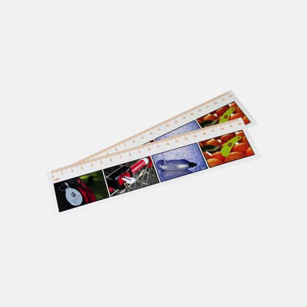 Vit 10 cm-skallinjal med reklamtryck