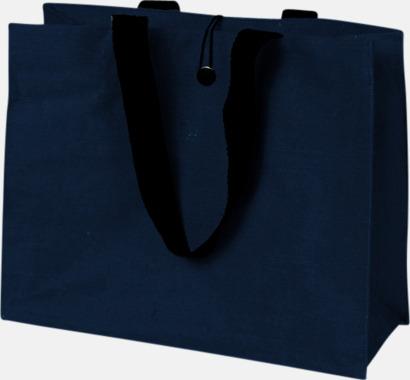 Marinblå Stor jutebag med eget tryck