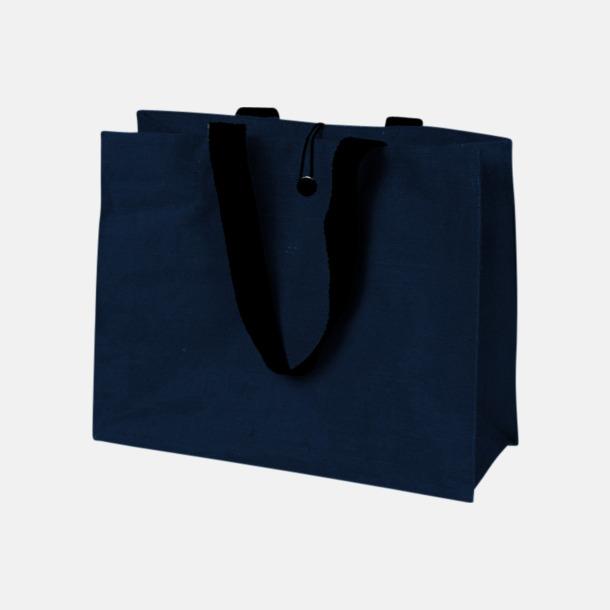 Marinblå (PMS 541) Stor jutebag med eget reklamtryck