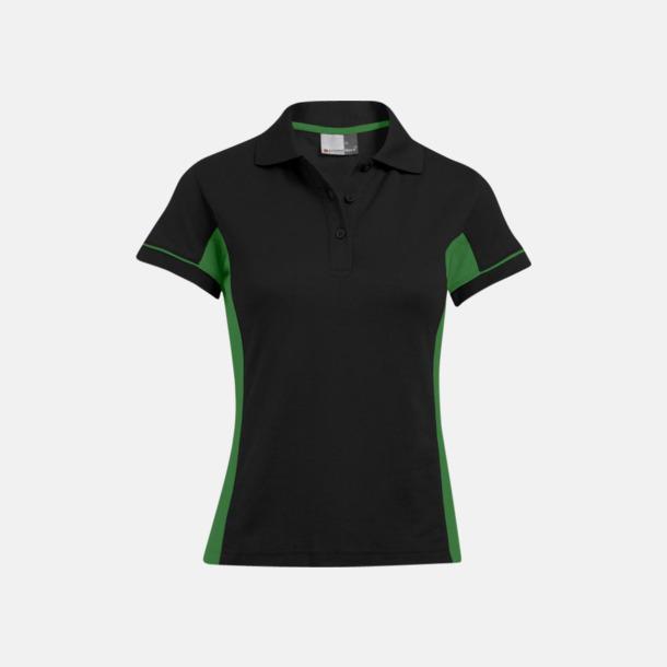 Svart/Kelly Green (dam) Pikétröjor i funktionsmaterial med tryck