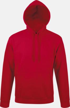 Röd Tjocka huvtröjor i unisexmodell med reklamtryck