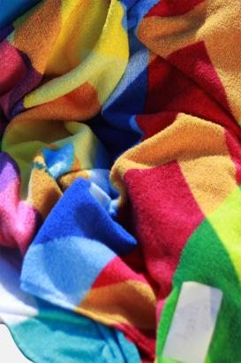 Terry-handdukar i många storlekar med utfallande reklamtryck