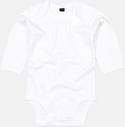 Vit (lång) Ekologiska bodysuits med korta eller långa ärmar - med reklamtryck