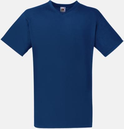 Marinblå V-ringad t-shirt med reklamtryck