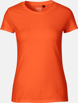 Orange (dam) Fitted t-shirts i ekologisk fairtrade-bomull med tryck
