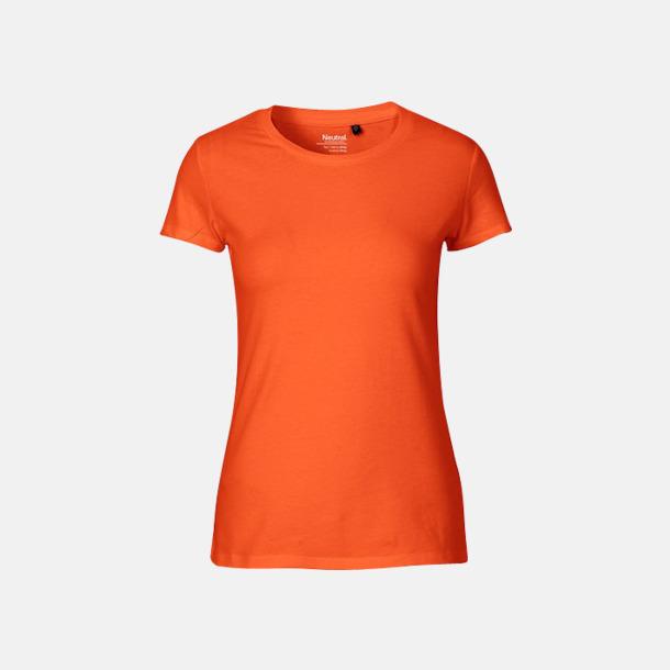 Orange (dam) Fitted t-shirts i ekologisk fairtrade-bomull med tryck