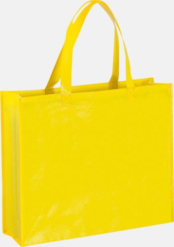 Gul Shoppingbagar med korta handtag - med tryck