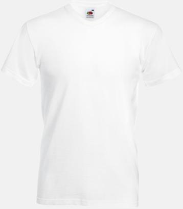Vit V-ringad t-shirt med reklamtryck