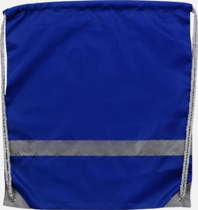 Blå Gymnastikpåse med reflexband - med reklamtryck