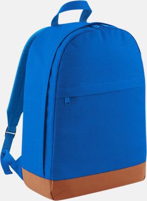Sapphire Blue/Tan Ryggsäckar i retrostil med reklamtryck