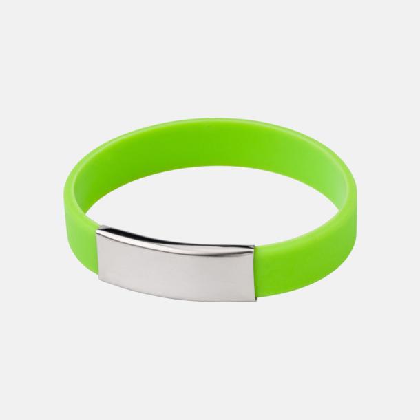 Ljusgrön Silikonarmband med metallplatta - med reklamtryck
