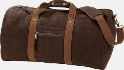 Vintage Brown Vintagebagar med reklamtryck