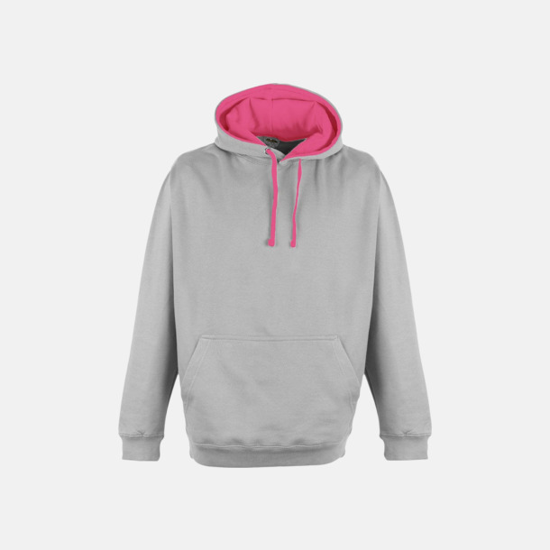 Heather Grey/Electric Pink Huvtröjor med kontrastfärger - med tryck