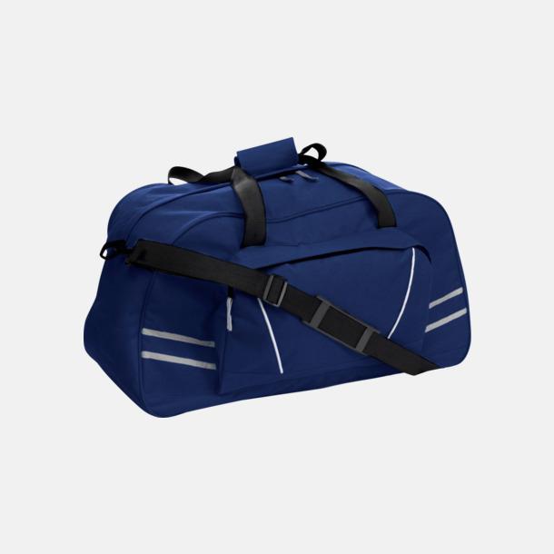 Marinblå Sportbags med reflexremsor - med tryck