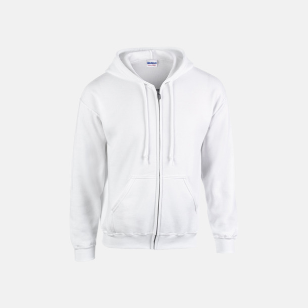 Vit Heavy Blend-tröja i herrmodell med reklamtryck