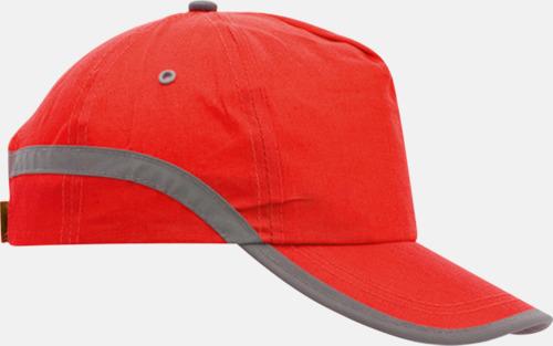Röd Varselkepsar med reflexband med reklamtryck