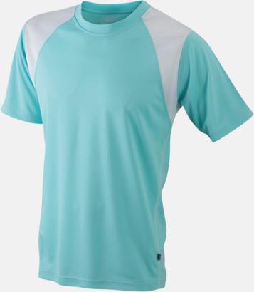 Mint/Vit Flerfärgade tränings t-shirts i herrmodell med reklamtryck