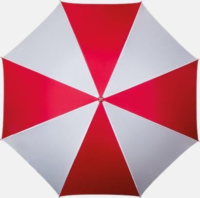 Röd / Vit Golfparaply med rundad träkrycka