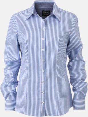 Ljusblå-Vit/Marinblå (dam) Blusar & skjortor i randigt mönster med reklamtryck