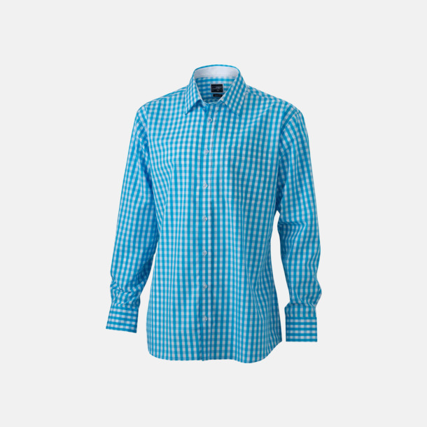 Turkos/Vit (herr) Rutiga bomullsskjortor & -blusar med reklamtryck