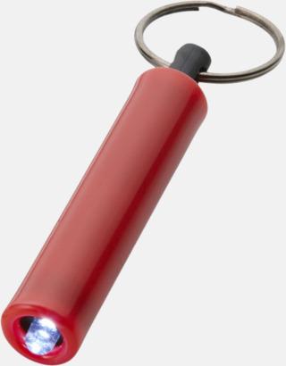 Röd Ficklampa med nyckelring i retrodesign med reklamtryck