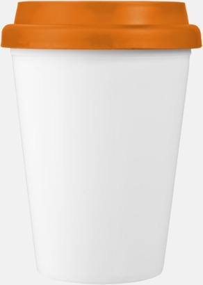 Orange / Vit Billiga take-away, dubbelväggiga plastmuggar med reklamtryck