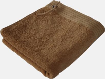 Ljusbrun Handdukar med metallögla och snöre - med brodyr