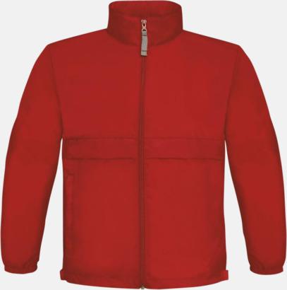Röd (barn) Vind- och vattentäta jackor för dam, herr och barn - med tryck