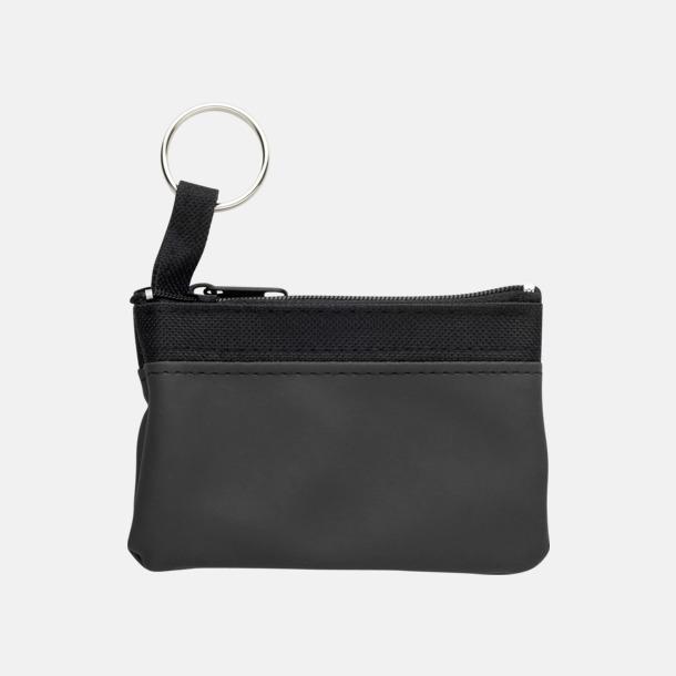 Svart Små plånböcker med nyckelringar i mörka färger med reklamtryck