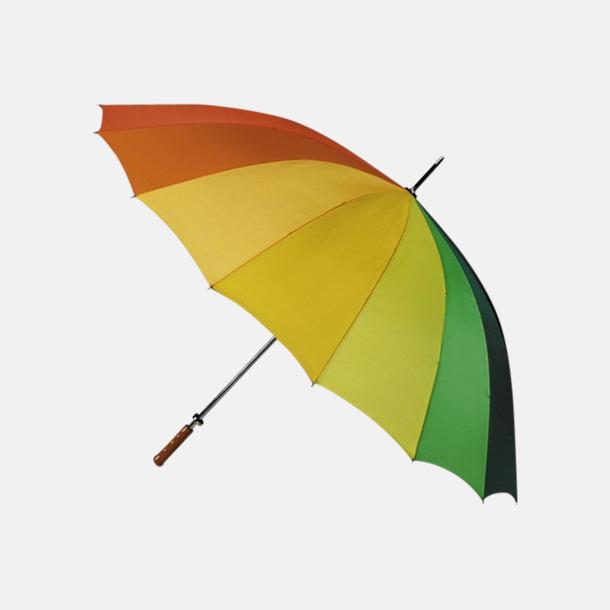 Regnbågsfärgade golfparaplyer med reklamtryck
