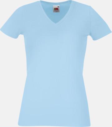 Sky Blue V-ringad damtshirt med reklamtryck