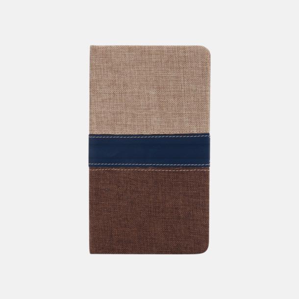 Brun/Ljusbrun/Mörkblå Anteckningsböcker med linomslag - med reklamtryck