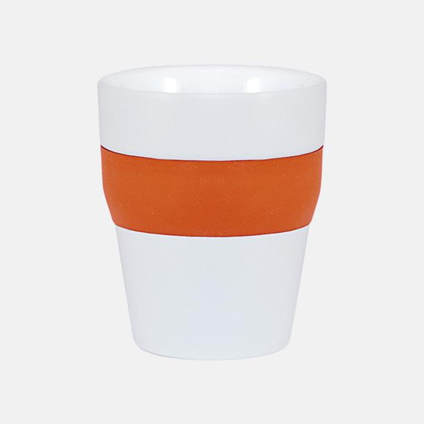 Vit / Orange Robusta take away-muggar med silikonsleeve