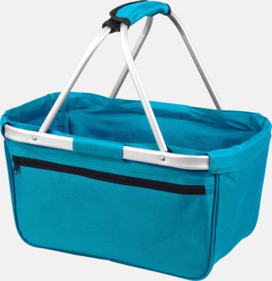 Teal  Shopping- & picknickkorg med reklamtryck