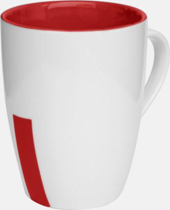 Röd (rand) Stengodsmuggar med randig eller prickiga detaljer - med reklamtryck