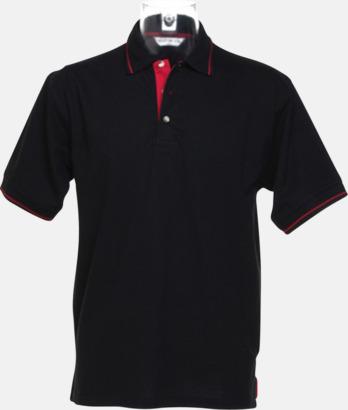 Svart/Bright Red (herr) Tvåfärgade pikétröjor i herr- och dammodell med reklamtryck