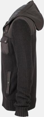Svart/Dark Grey Melange sida (herr) Stickade herr- & damjackor med reklamtryck