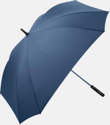 Marinblå Fyrkantiga paraplyer med färgade skaft - med reklamtryck