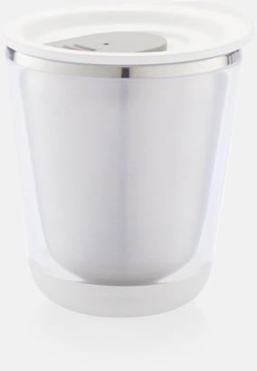 Vit/Grå Isolerade kaffemuggar med lock - med reklamtryck