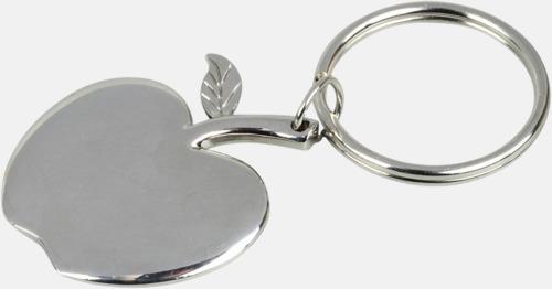 Silver Äppelformade nyckelringar med lasergravyr