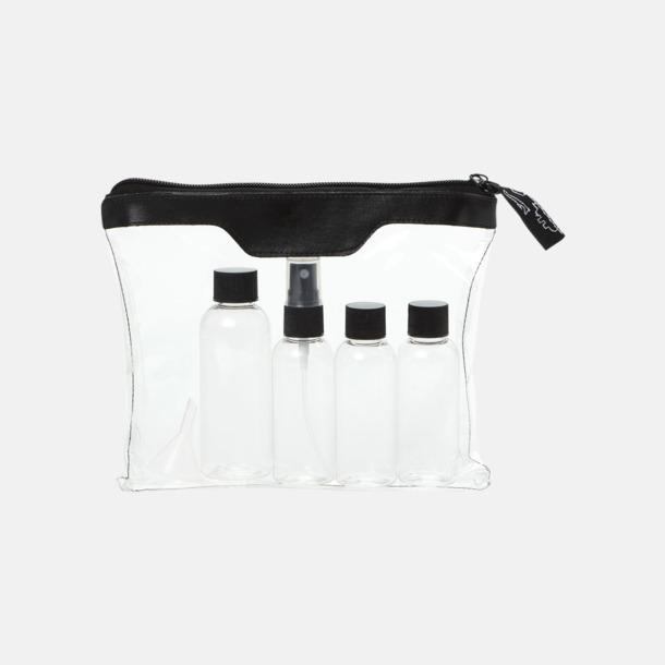 Transparent/Svart Blixtlåsförsett necessär och flaskset med reklamtryck
