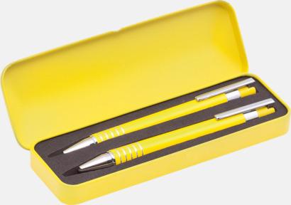 Gul Pennset med bläck- och blyertspenna i fodral