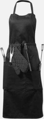 Svart Set med förkläde och grillverktyg med reklamtryck