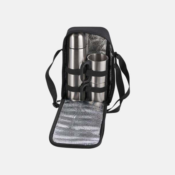 Silver / Svart Väska med termos och två muggar för picknicken - med reklamtryck