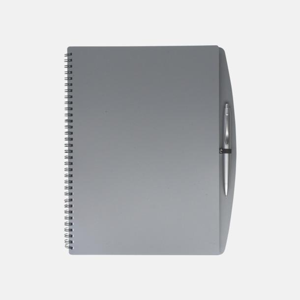Grå A4-block med bläckpenna - med reklamtryck