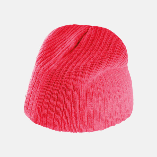 Strawberry Pink Mössor med breda ribbränder - med reklambrodyr
